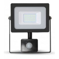 20W Slim Motion Sensor LED Floodlight - Warm White (Black Case)