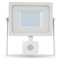 30W Ultra Slimline PIR Sensor LED Floodlight Daylight White (White Case)