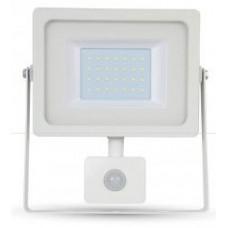 30W Ultra Slimline PIR Sensor LED Floodlight Daylight White (White Case)