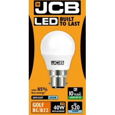 6W (40 Watt) LED Golf Ball Bayonet Light Bulb in Daylight (6400K)