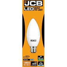 6w (40w) LED Candle Bayonet Light Bulb in Daylight 6500K by JCB