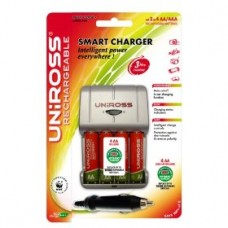Uniross Smart Charger + 4 x AA Multi Usage Long Life Rechargeable Batteries